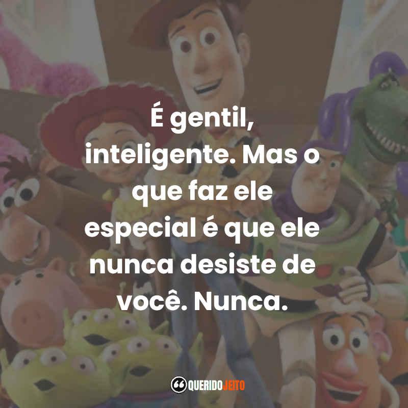 """""""É gentil, inteligente. Mas o que faz ele especial é que ele nunca desiste de você. Nunca."""" Frases do Toy Story 3"""