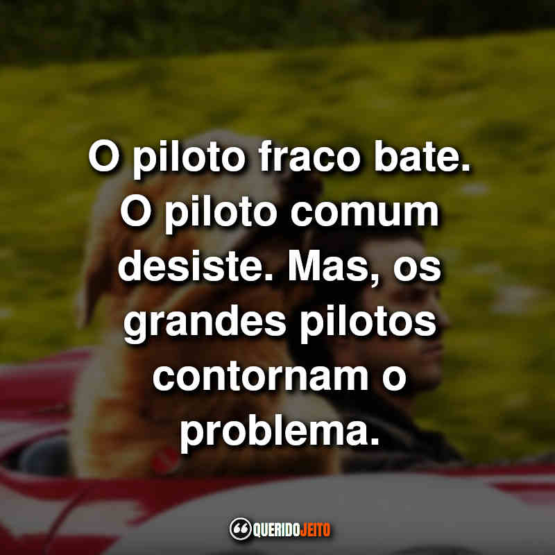 """""""O piloto fraco bate. O piloto comum desiste. Mas, os grandes pilotos contornam o problema."""""""